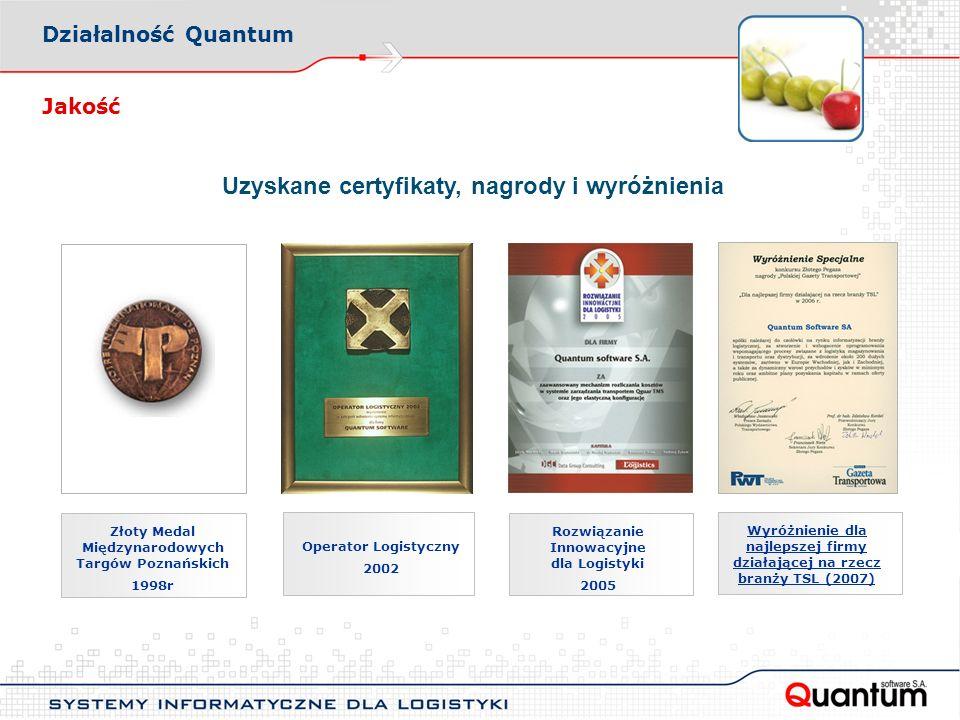 Uzyskane certyfikaty, nagrody i wyróżnienia