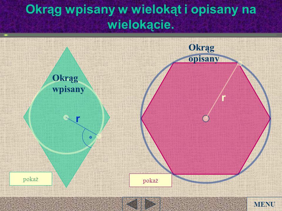 Okrąg wpisany w wielokąt i opisany na wielokącie.