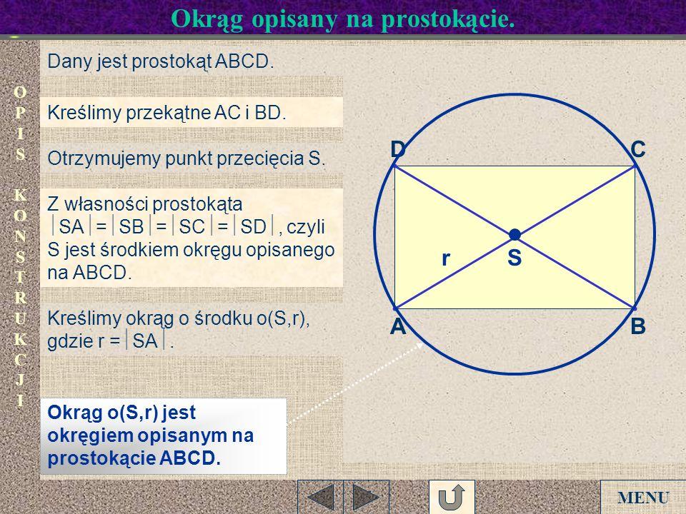 Okrąg opisany na prostokącie.