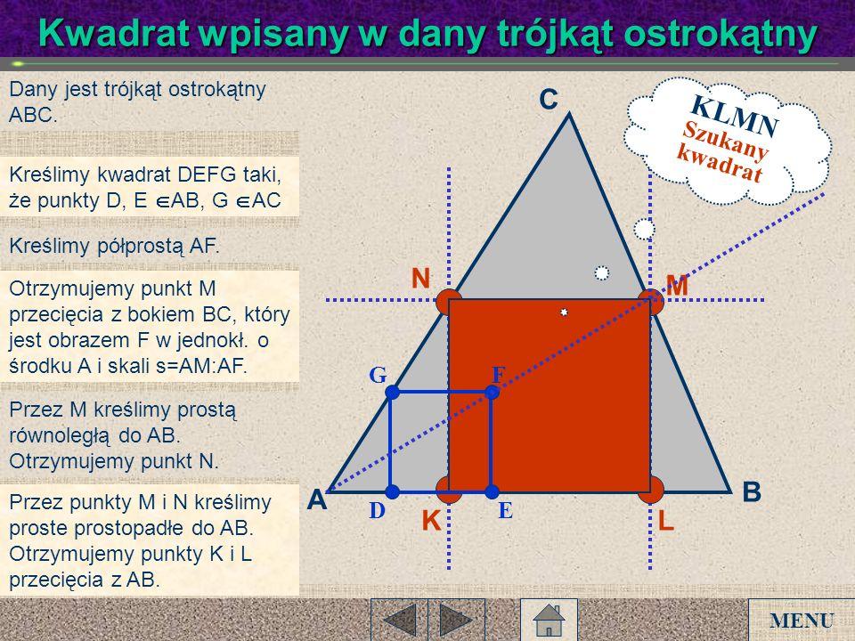 Kwadrat wpisany w dany trójkąt ostrokątny