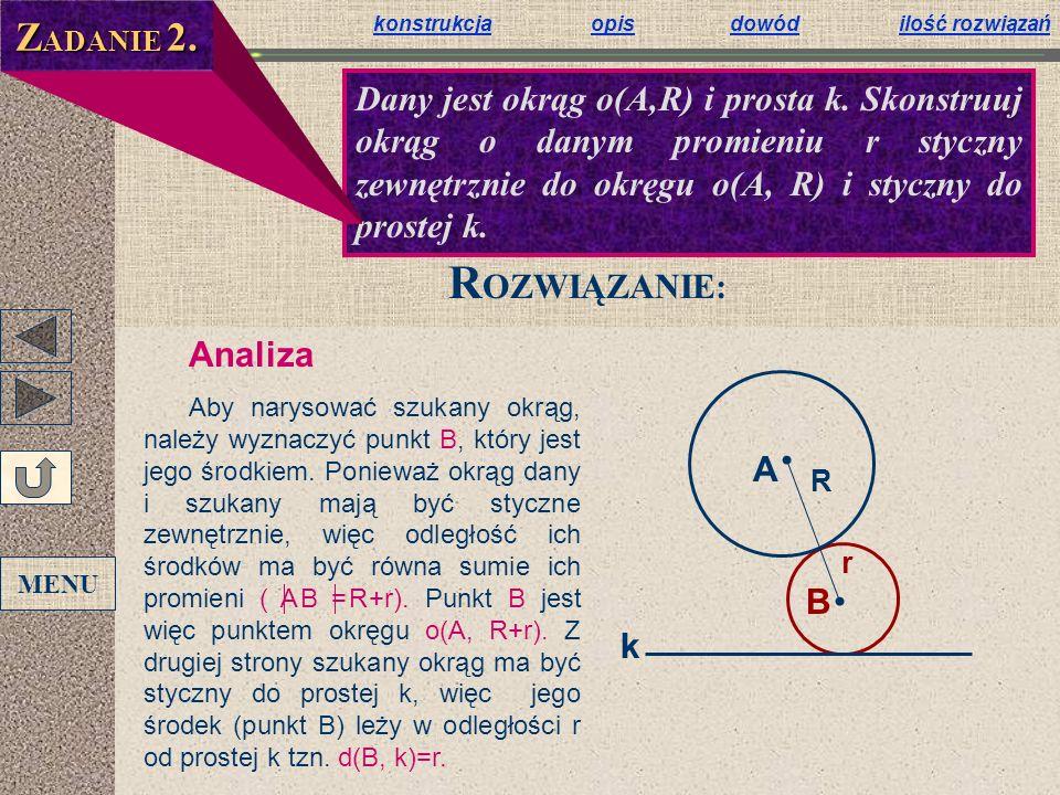 ZADANIE 2.konstrukcja opis dowód ilość rozwiązań.