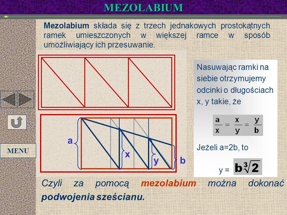 MEZOLABIUMMezolabium składa się z trzech jednakowych prostokątnych ramek umieszczonych w większej ramce w sposób umożliwiający ich przesuwanie.