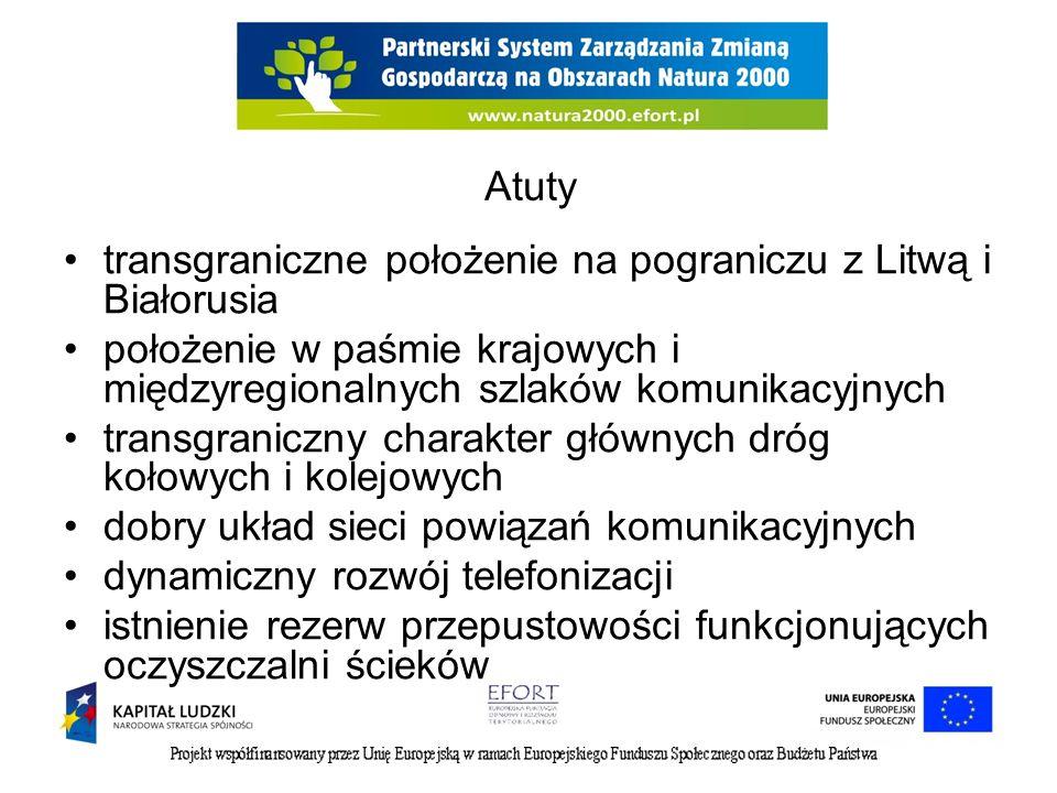 Atuty transgraniczne położenie na pograniczu z Litwą i Białorusia. położenie w paśmie krajowych i międzyregionalnych szlaków komunikacyjnych.