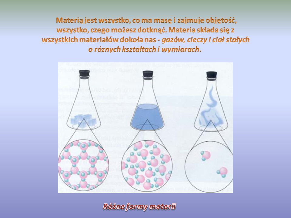 Materią jest wszystko, co ma masę i zajmuje objętość, wszystko, czego możesz dotknąć. Materia składa się z wszystkich materiałów dokoła nas - gazów, cieczy i ciał stałych o róznych kształtach i wymiarach.