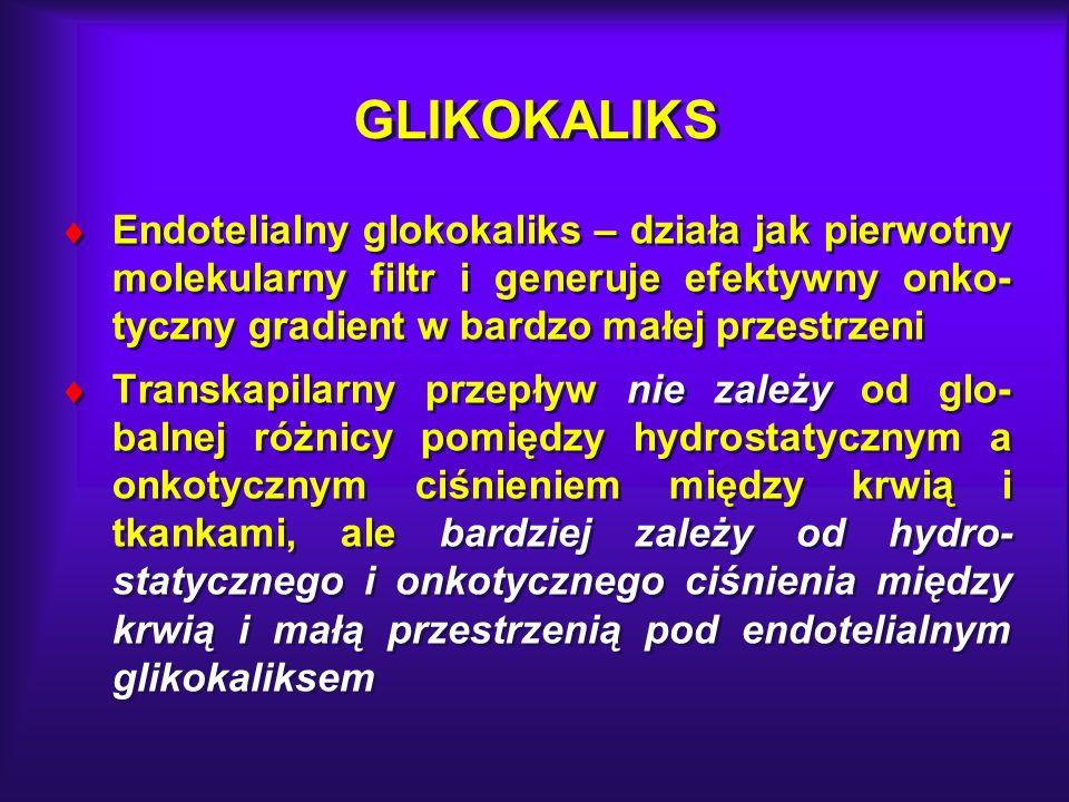 GLIKOKALIKS Endotelialny glokokaliks – działa jak pierwotny molekularny filtr i generuje efektywny onko-tyczny gradient w bardzo małej przestrzeni.