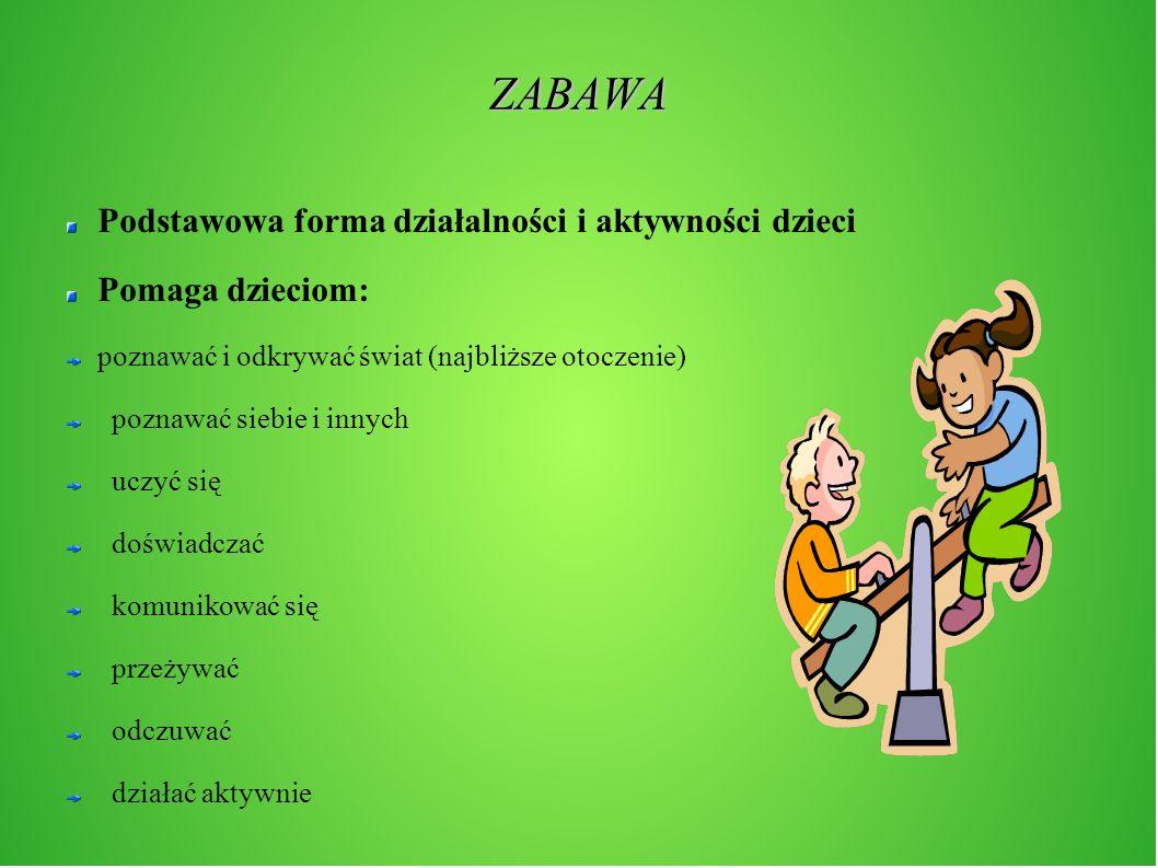 ZABAWA Podstawowa forma działalności i aktywności dzieci