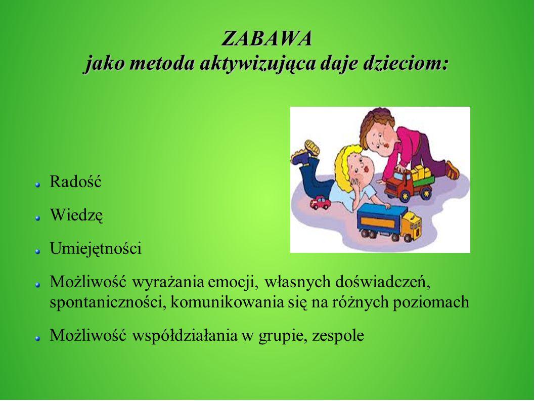 ZABAWA jako metoda aktywizująca daje dzieciom: