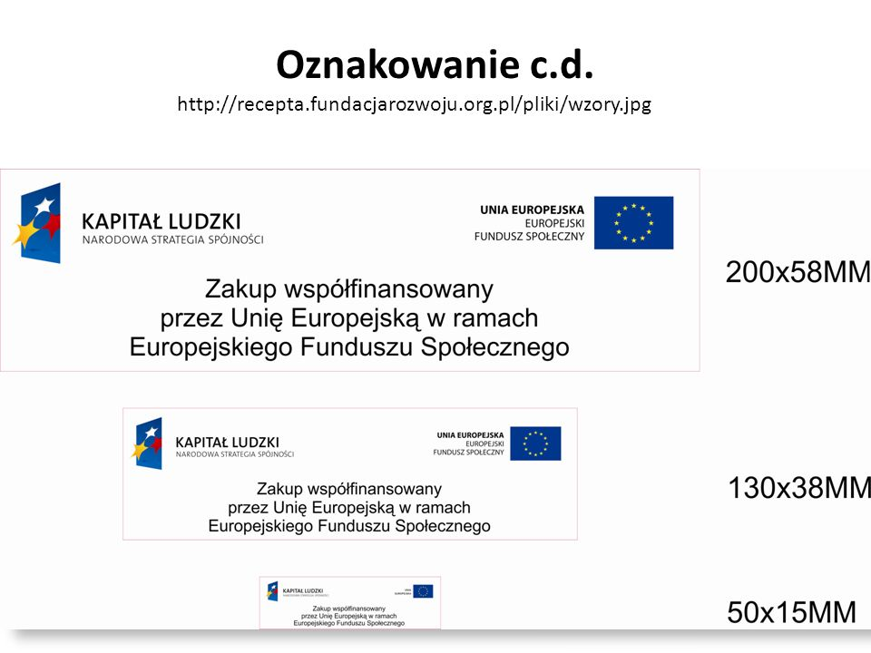 Oznakowanie c.d. http://recepta.fundacjarozwoju.org.pl/pliki/wzory.jpg
