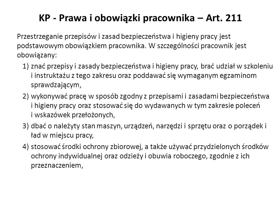KP - Prawa i obowiązki pracownika – Art. 211