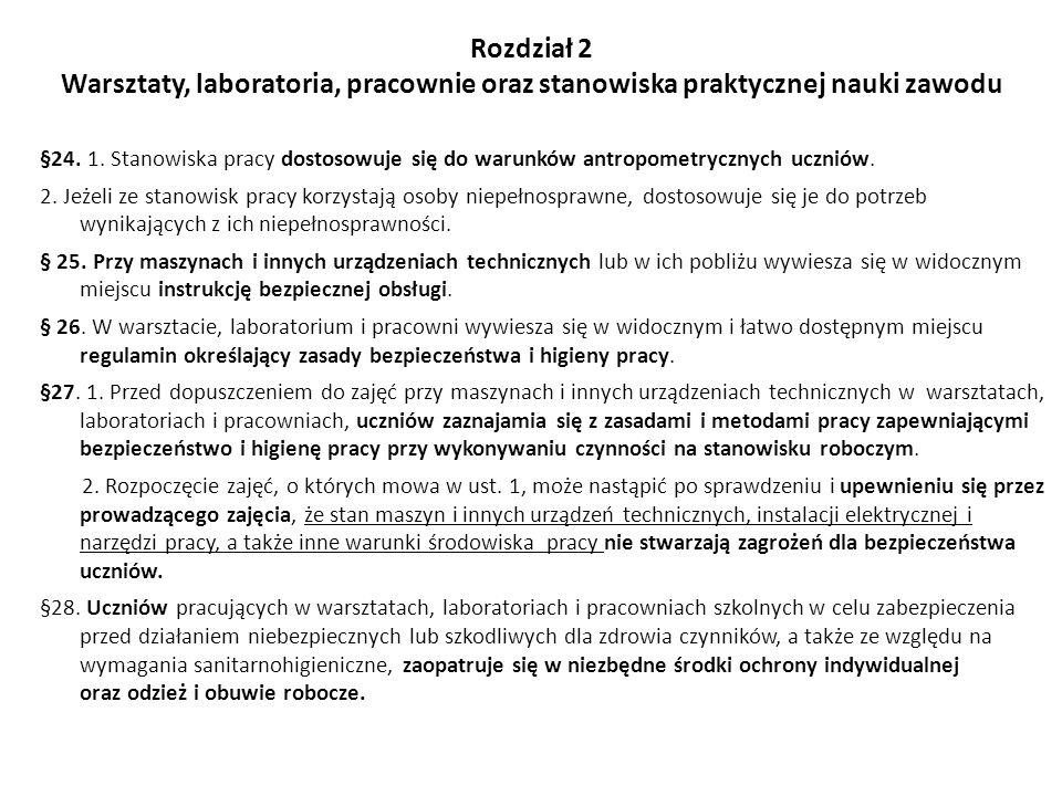 Rozdział 2 Warsztaty, laboratoria, pracownie oraz stanowiska praktycznej nauki zawodu