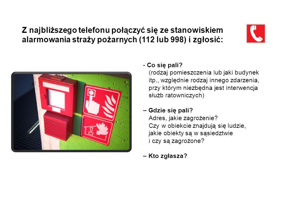 Z najbliższego telefonu połączyć się ze stanowiskiem alarmowania straży pożarnych (112 lub 998) i zgłosić: