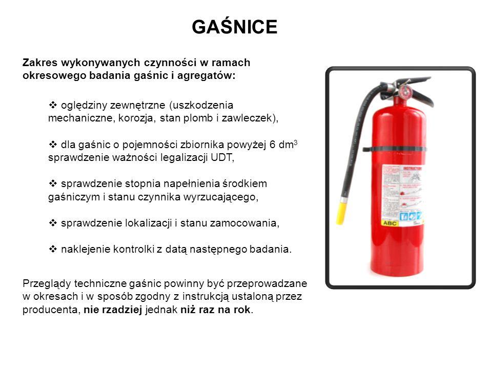 GAŚNICE Zakres wykonywanych czynności w ramach okresowego badania gaśnic i agregatów: