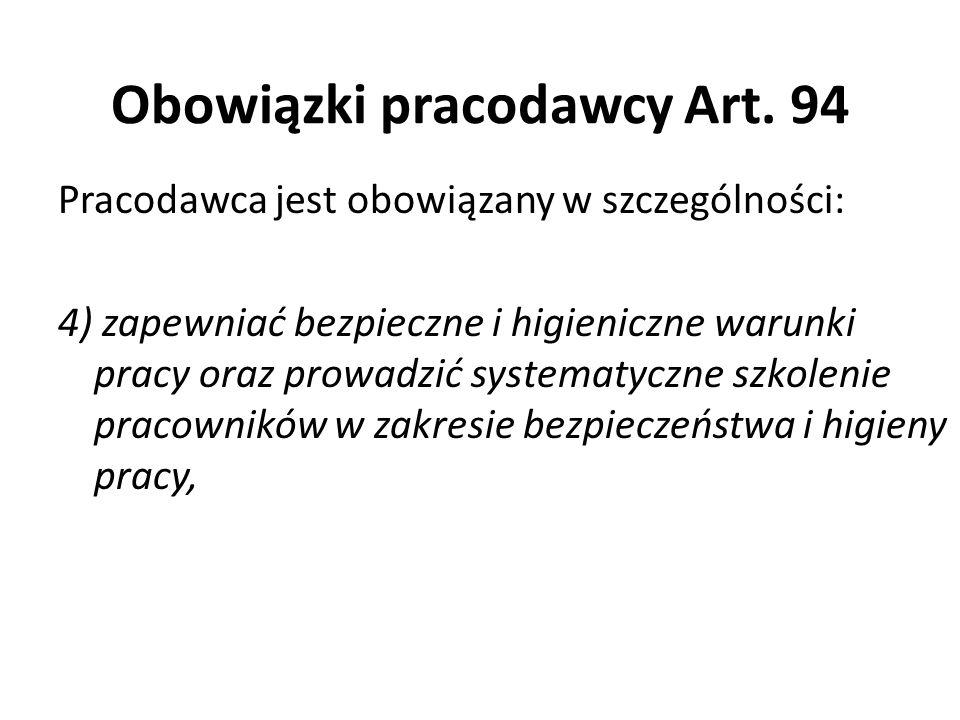 Obowiązki pracodawcy Art. 94