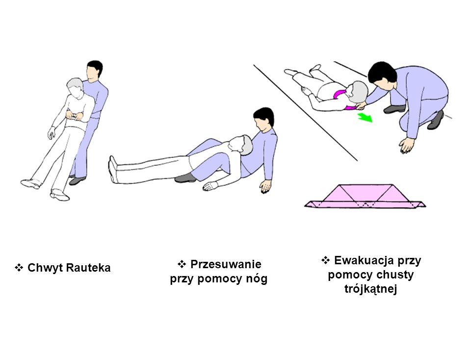 Ewakuacja przy pomocy chusty trójkątnej Przesuwanie przy pomocy nóg