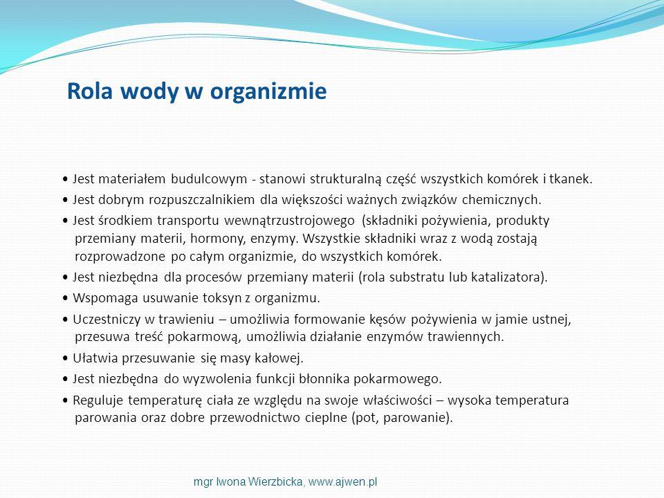 Rola wody w organizmie Jest materiałem budulcowym - stanowi strukturalną część wszystkich komórek i tkanek.
