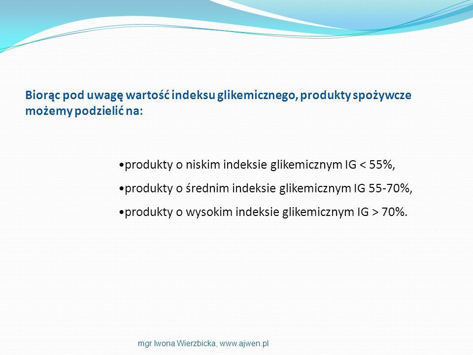 produkty o niskim indeksie glikemicznym IG < 55%,