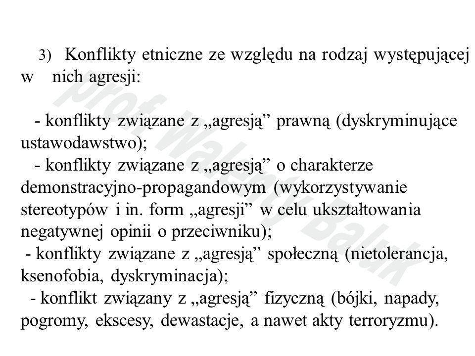 3) Konflikty etniczne ze względu na rodzaj występującej w nich agresji: