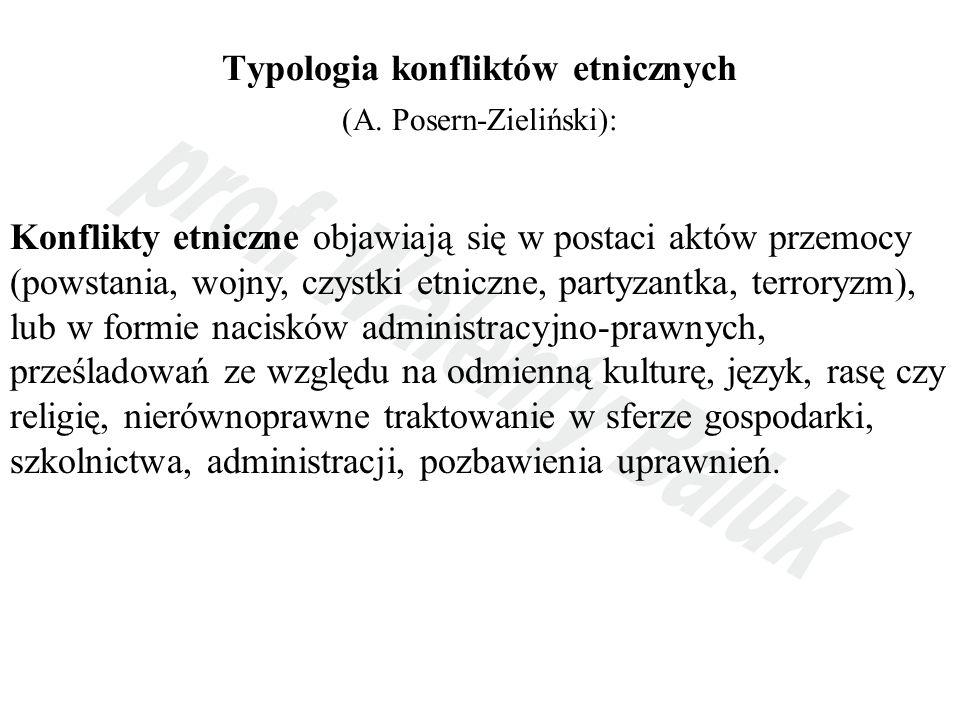 Typologia konfliktów etnicznych (A. Posern-Zieliński):