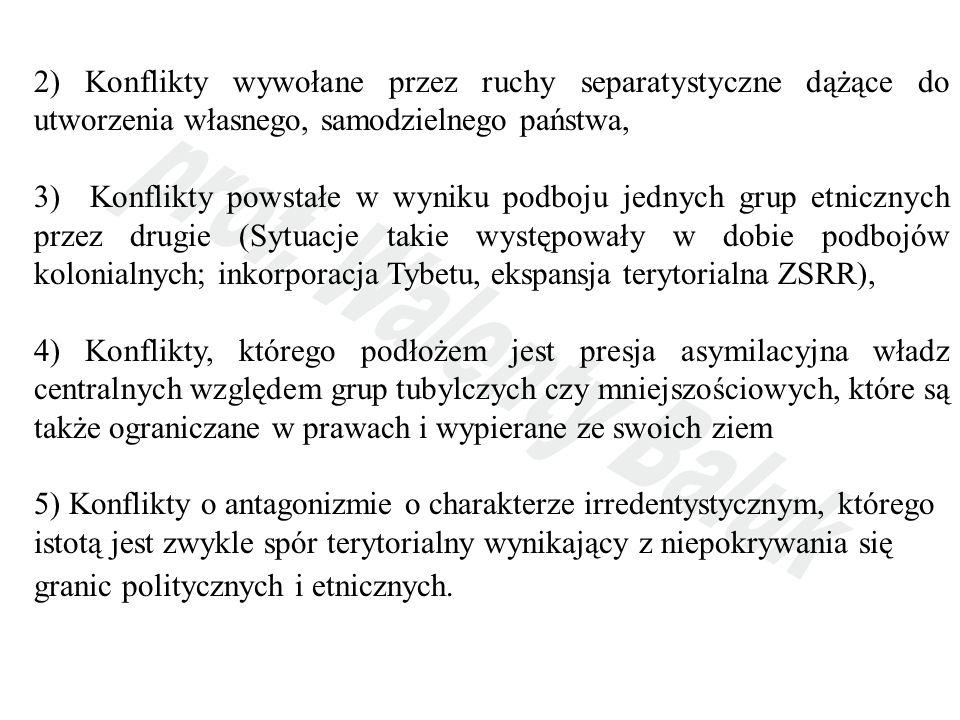 2) Konflikty wywołane przez ruchy separatystyczne dążące do utworzenia własnego, samodzielnego państwa,