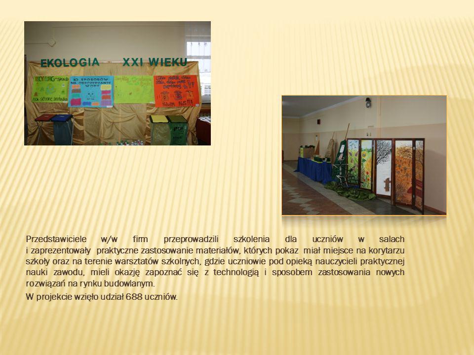 Przedstawiciele w/w firm przeprowadzili szkolenia dla uczniów w salach i zaprezentowały praktyczne zastosowanie materiałów, których pokaz miał miejsce na korytarzu szkoły oraz na terenie warsztatów szkolnych, gdzie uczniowie pod opieką nauczycieli praktycznej nauki zawodu, mieli okazję zapoznać się z technologią i sposobem zastosowania nowych rozwiązań na rynku budowlanym.