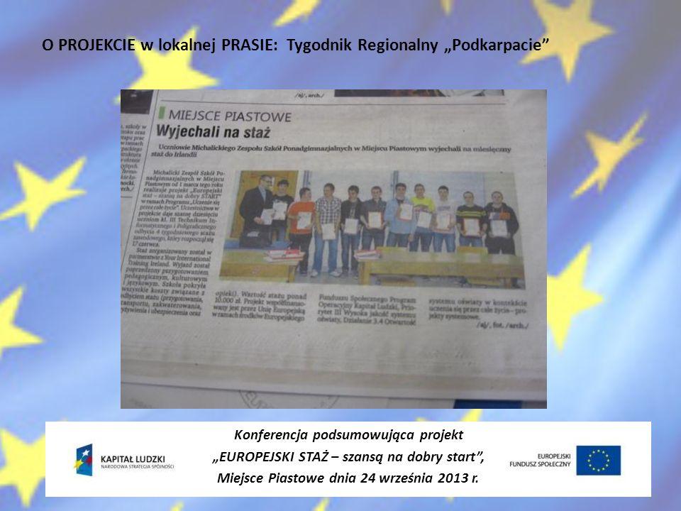 """O PROJEKCIE w lokalnej PRASIE: Tygodnik Regionalny """"Podkarpacie"""