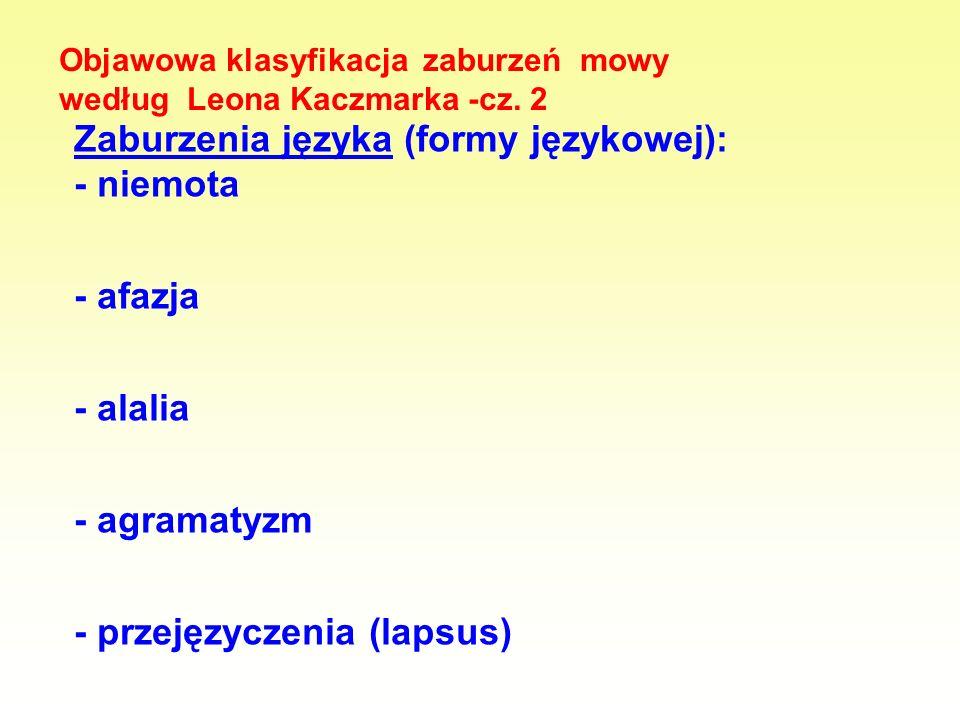 Zaburzenia języka (formy językowej): - niemota - afazja