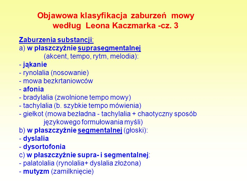 Objawowa klasyfikacja zaburzeń mowy według Leona Kaczmarka -cz. 3
