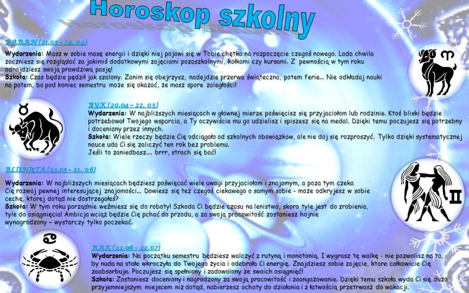 Horoskop szkolny BARAN (21.03 – 19. 04)