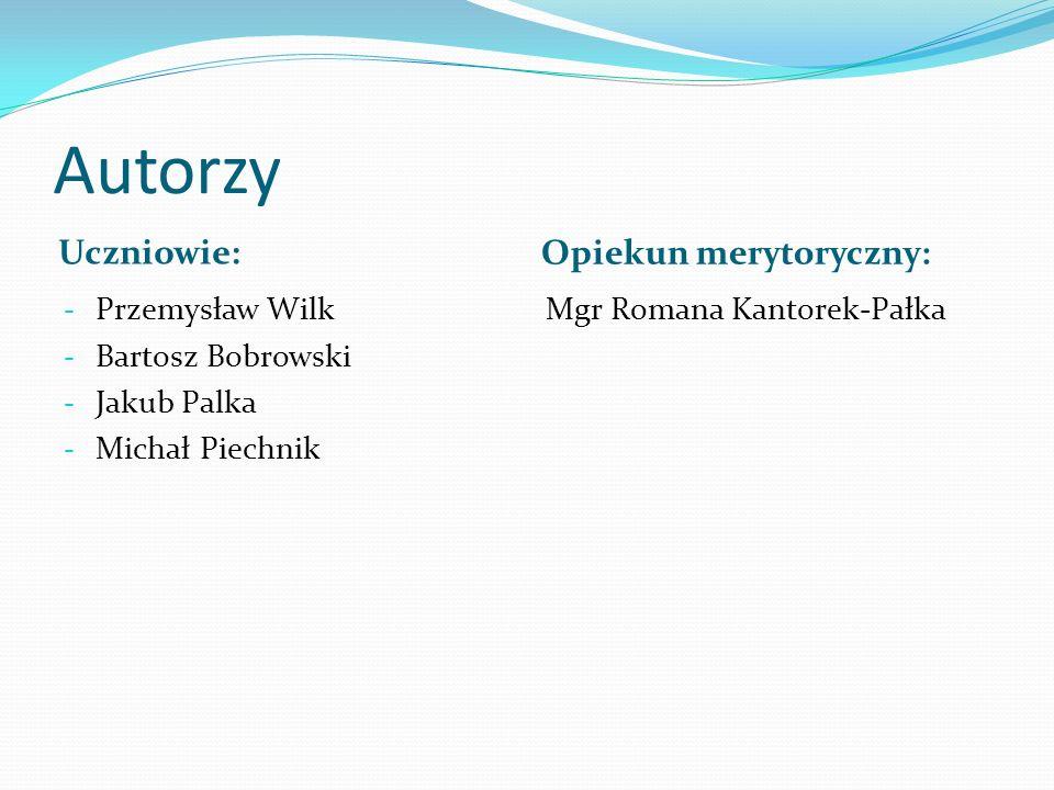 Autorzy Uczniowie: Opiekun merytoryczny: Przemysław Wilk