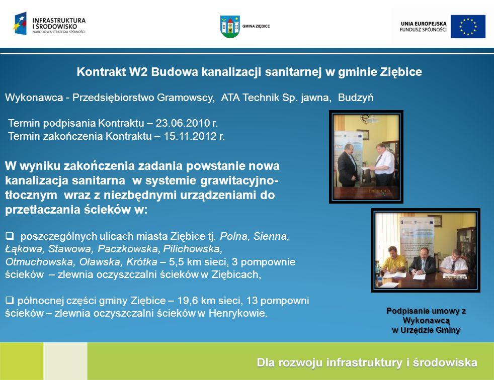 Kontrakt W2 Budowa kanalizacji sanitarnej w gminie Ziębice