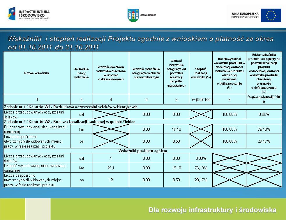 Wskaźniki i stopień realizacji Projektu zgodnie z wnioskiem o płatność za okres od 01.10.2011 do 31.10.2011