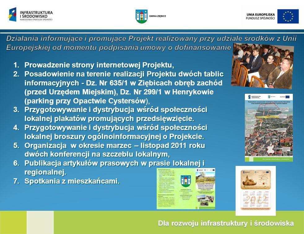Działania informujące i promujące Projekt realizowany przy udziale środków z Unii Europejskiej od momentu podpisania umowy o dofinansowanie
