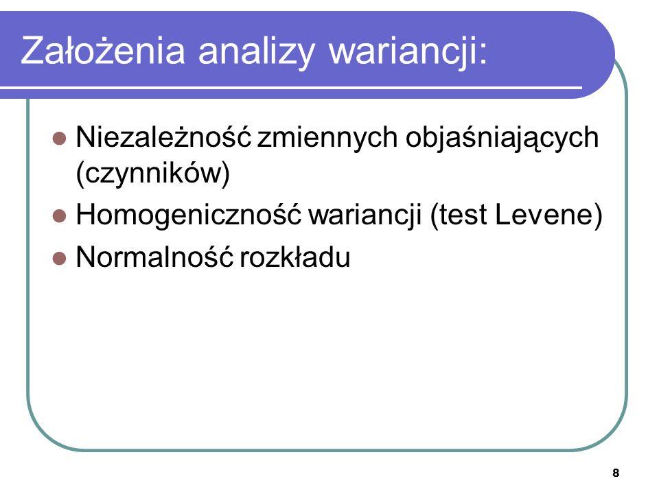 Założenia analizy wariancji: