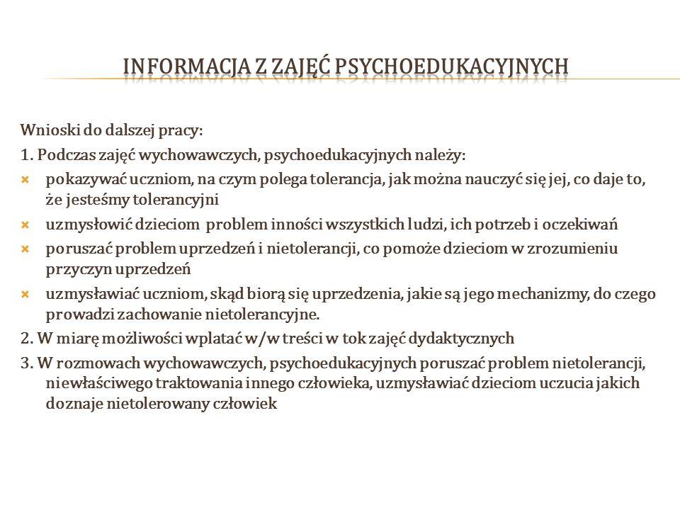 INFORMACJA z zajęć psychoedukacyjnych