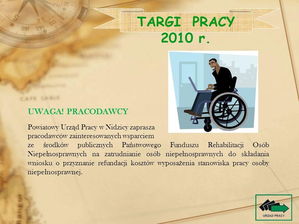 TARGI PRACY 2010 r. UWAGA! PRACODAWCY