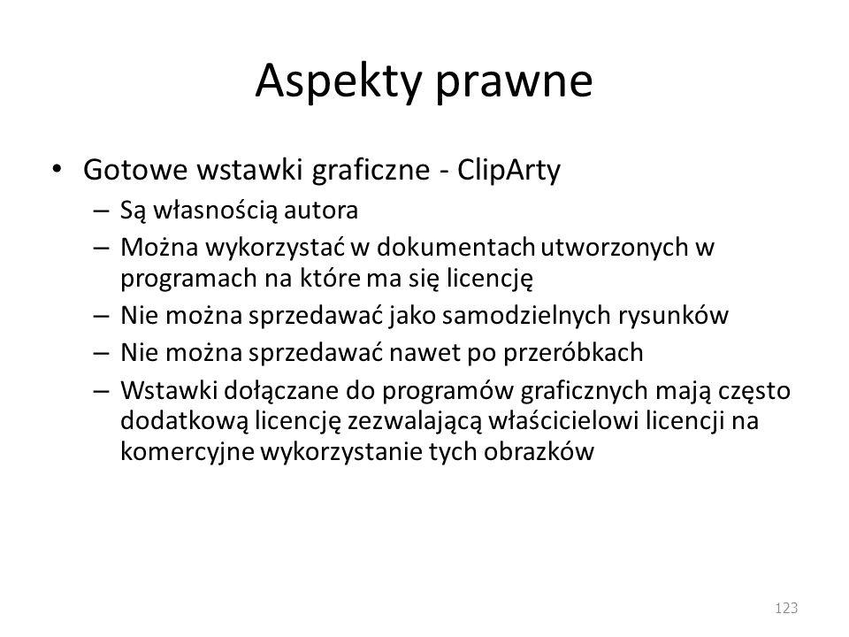 Aspekty prawne Gotowe wstawki graficzne - ClipArty