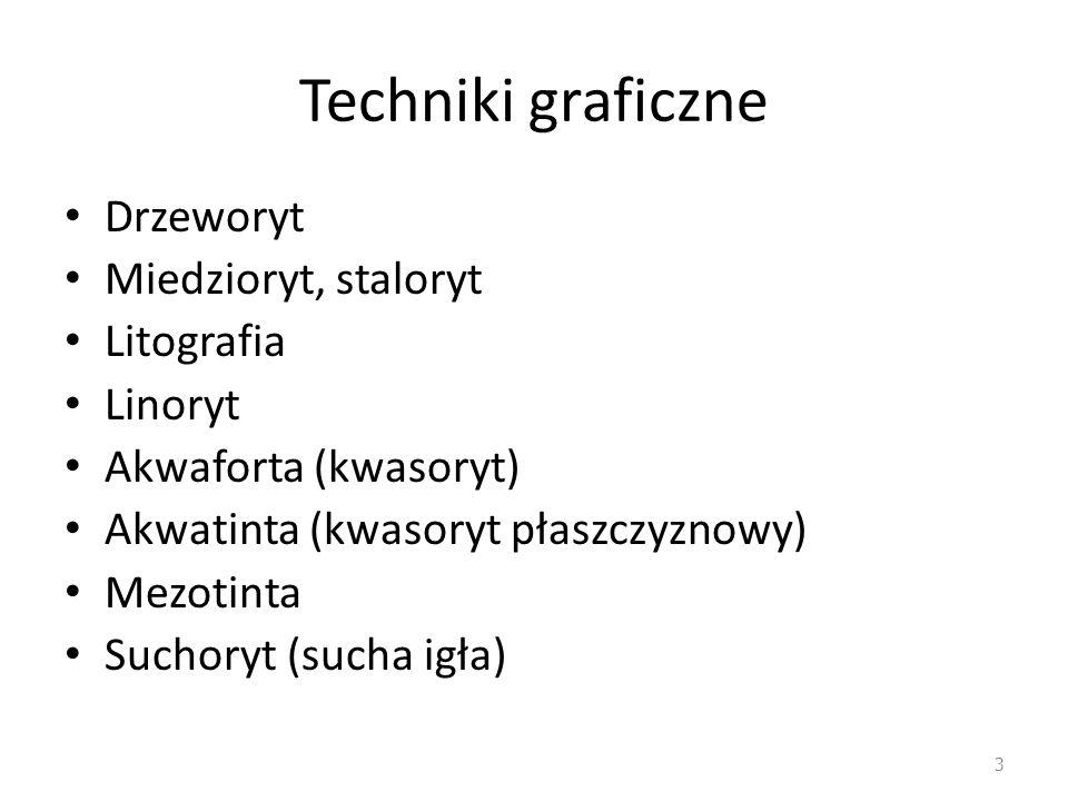 Techniki graficzne Drzeworyt Miedzioryt, staloryt Litografia Linoryt
