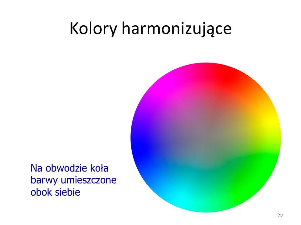 Kolory harmonizujące Na obwodzie koła barwy umieszczone obok siebie