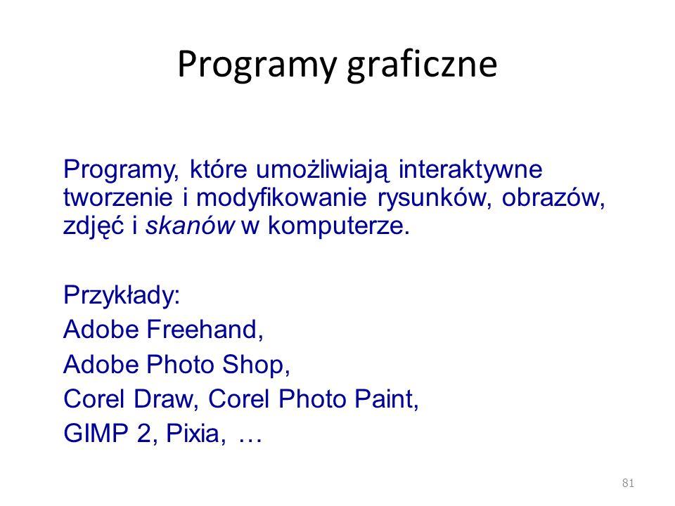 Programy graficzne Programy, które umożliwiają interaktywne tworzenie i modyfikowanie rysunków, obrazów, zdjęć i skanów w komputerze.