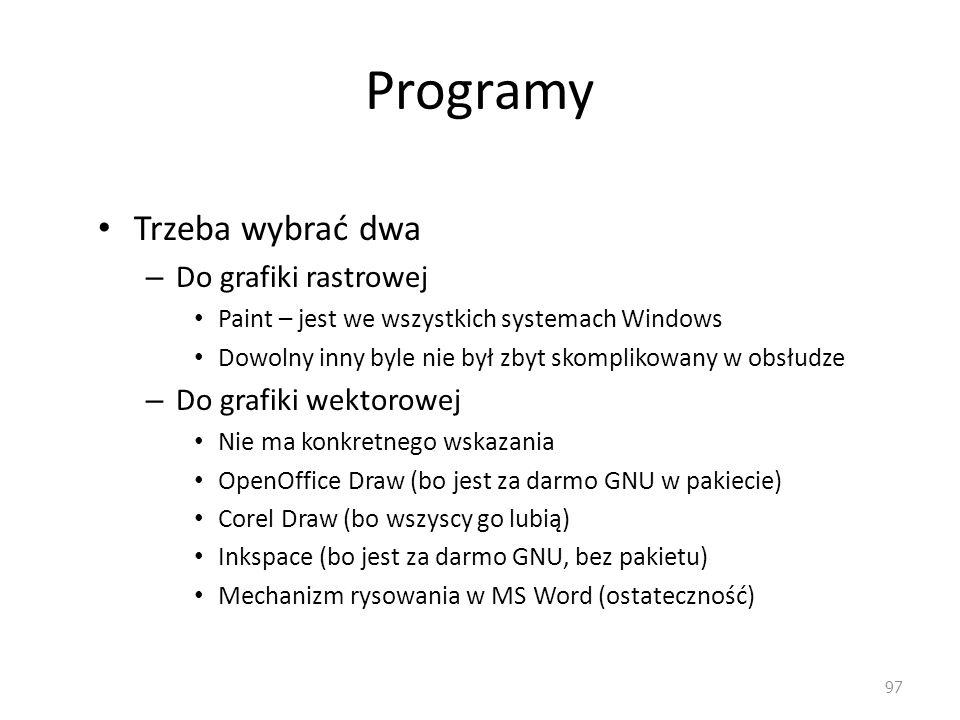 Programy Trzeba wybrać dwa Do grafiki rastrowej Do grafiki wektorowej