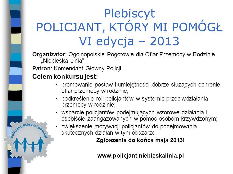 Plebiscyt POLICJANT, KTÓRY MI POMÓGŁ VI edycja – 2013