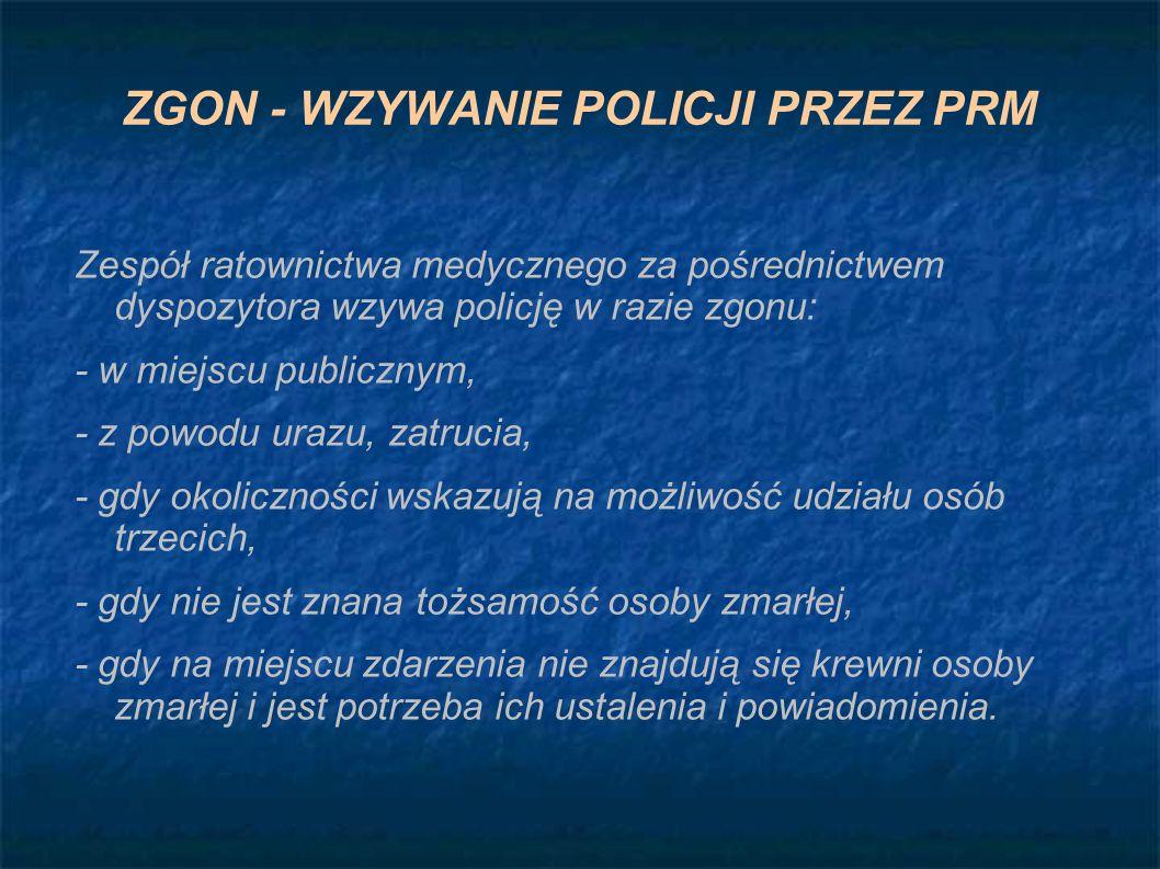 ZGON - WZYWANIE POLICJI PRZEZ PRM