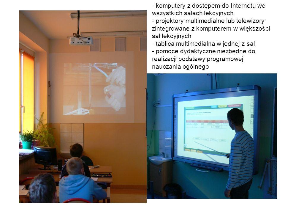 - komputery z dostępem do Internetu we wszystkich salach lekcyjnych