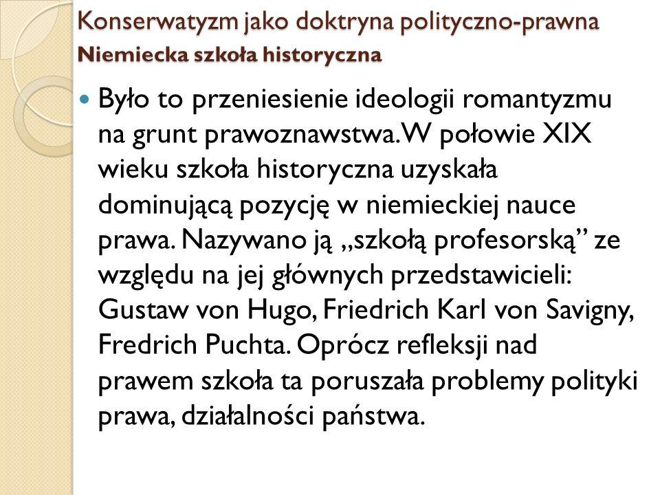 Konserwatyzm jako doktryna polityczno-prawna Niemiecka szkoła historyczna