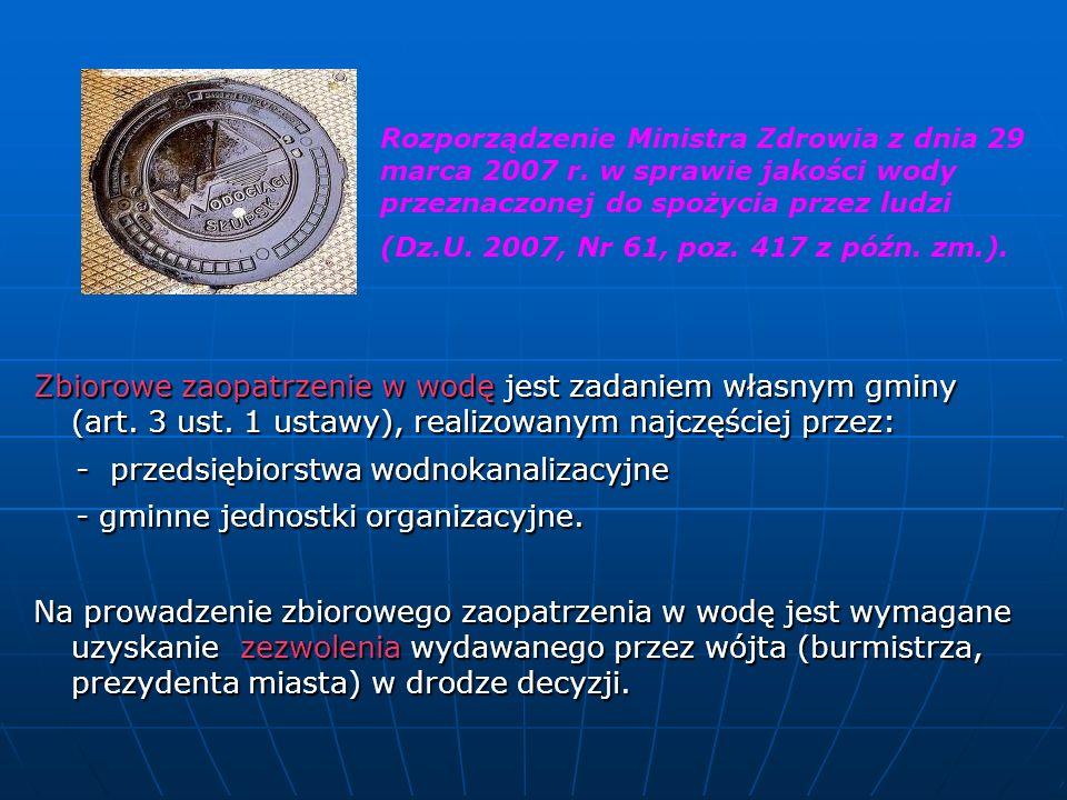 - przedsiębiorstwa wodnokanalizacyjne