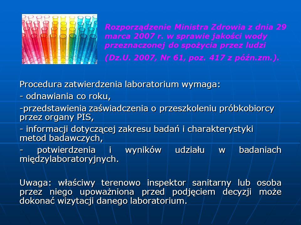 Procedura zatwierdzenia laboratorium wymaga: - odnawiania co roku,
