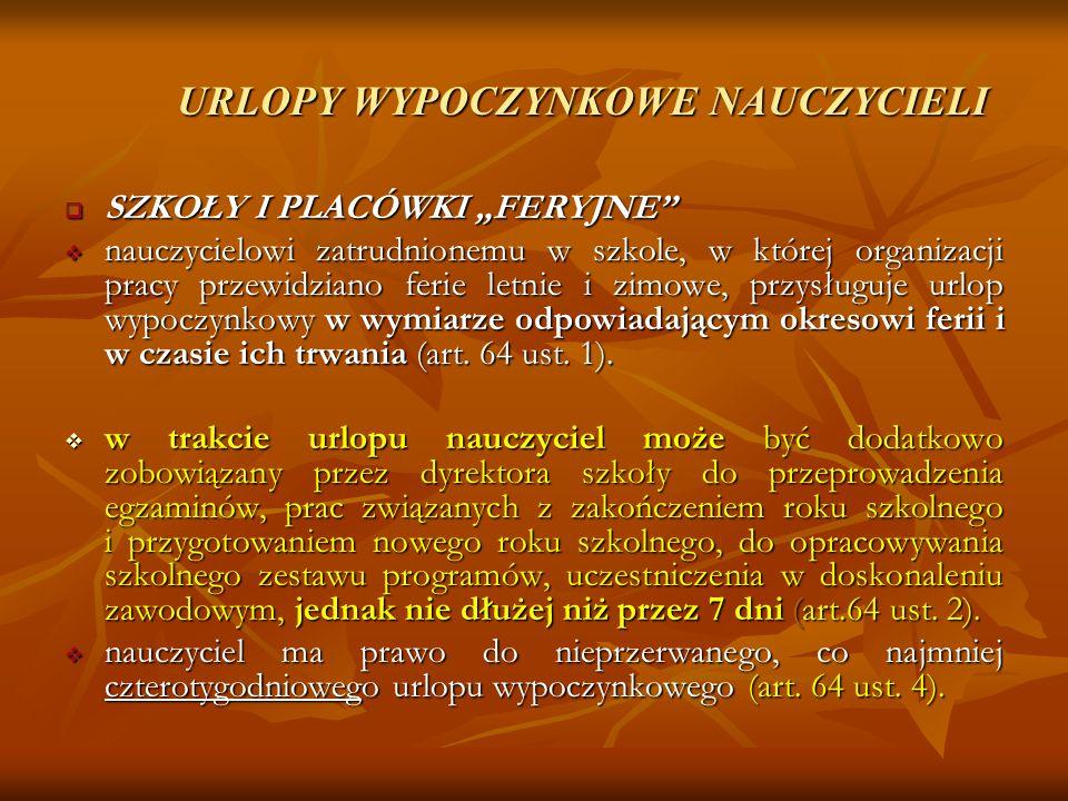 URLOPY WYPOCZYNKOWE NAUCZYCIELI