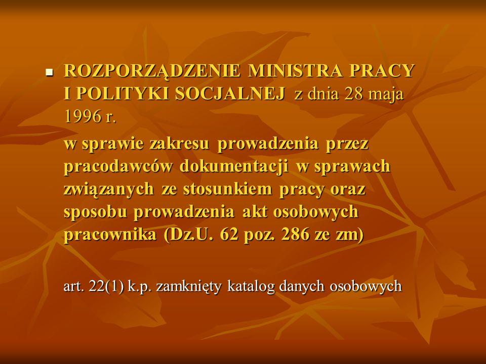art. 22(1) k.p. zamknięty katalog danych osobowych