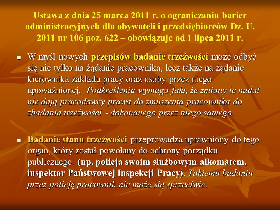 Ustawa z dnia 25 marca 2011 r. o ograniczaniu barier administracyjnych dla obywateli i przedsiębiorców Dz. U. 2011 nr 106 poz. 622 – obowiązuje od 1 lipca 2011 r.