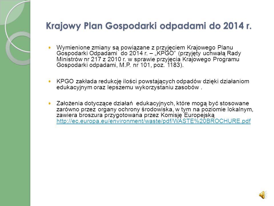 Krajowy Plan Gospodarki odpadami do 2014 r.
